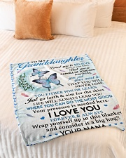 """I LOVE YOU - GRANDDAUGHTER GIFT WITH BUTTETFLY Small Fleece Blanket - 30"""" x 40"""" aos-coral-fleece-blanket-30x40-lifestyle-front-01"""