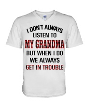 WE ALWAYS GET INTROUBLE - PERFECT GIFT FOR GRANDMA V-Neck T-Shirt tile