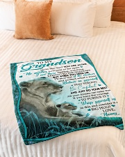 """BELIEVE IN YOURSELF - GRANDSON GIFT WITH LIONESS Small Fleece Blanket - 30"""" x 40"""" aos-coral-fleece-blanket-30x40-lifestyle-front-01"""