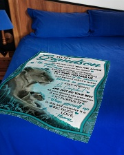 """BELIEVE IN YOURSELF - GRANDSON GIFT WITH LIONESS Small Fleece Blanket - 30"""" x 40"""" aos-coral-fleece-blanket-30x40-lifestyle-front-02"""