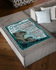 """BELIEVE IN YOURSELF - GRANDSON GIFT WITH LIONESS Small Fleece Blanket - 30"""" x 40"""" aos-coral-fleece-blanket-30x40-lifestyle-front-03"""
