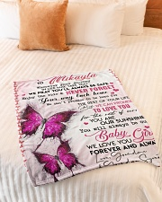 """OUR SUNSHINE-TO MIKAYLA FROM GRANDMA AND GRANDPA Small Fleece Blanket - 30"""" x 40"""" aos-coral-fleece-blanket-30x40-lifestyle-front-01"""