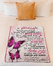 """OUR SUNSHINE-TO MIKAYLA FROM GRANDMA AND GRANDPA Small Fleece Blanket - 30"""" x 40"""" aos-coral-fleece-blanket-30x40-lifestyle-front-04"""