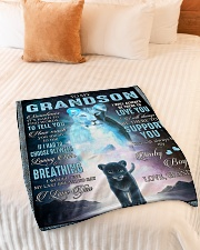 """I LOVE YOU - BEST GIFT FOR GRANDSON Small Fleece Blanket - 30"""" x 40"""" aos-coral-fleece-blanket-30x40-lifestyle-front-01"""