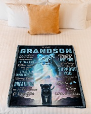 """I LOVE YOU - BEST GIFT FOR GRANDSON Small Fleece Blanket - 30"""" x 40"""" aos-coral-fleece-blanket-30x40-lifestyle-front-04"""