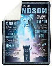 "I LOVE YOU - BEST GIFT FOR GRANDSON Large Sherpa Fleece Blanket - 60"" x 80"" thumbnail"