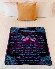 "I THINK ABOUT YOU - LOVELY GIFT FOR GRANDDAUGHTER Small Fleece Blanket - 30"" x 40"" aos-coral-fleece-blanket-30x40-lifestyle-front-04"