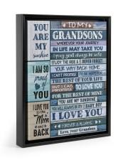I LOVE YOU - AMAZING GIFT FOR GRANDSON Floating Framed Canvas Prints Black tile