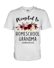 PROMOTED TO HOMESCHOOL GRANDMA QUARANTINE 2020 V-Neck T-Shirt tile