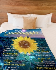 """MY SUNSHINE - GRANDDAUGHTER GIFT WITH SUNFLOWER Large Fleece Blanket - 60"""" x 80"""" aos-coral-fleece-blanket-60x80-lifestyle-front-02"""