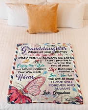 """ENJOY THE RIDE - GRANDDAUGHTER GIFT WITH BUTTERFLY Small Fleece Blanket - 30"""" x 40"""" aos-coral-fleece-blanket-30x40-lifestyle-front-04"""