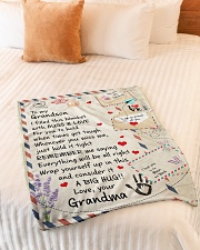 """HUGS AND LOVE - LOVELY GIFT FOR GRANDSON Small Fleece Blanket - 30"""" x 40"""" aos-coral-fleece-blanket-30x40-lifestyle-front-01"""