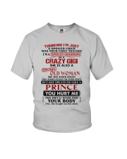 ISM A SPOILED GRANDSON OF A CRAZY GIGI Youth T-Shirt front