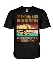 BOND CAN'T BE BROKEN - GIFT FOR GRANDMA GRANDSON  V-Neck T-Shirt tile