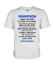I'LL BE HUGGING YOU - BEST GIFT FOR GRANDSON V-Neck T-Shirt thumbnail