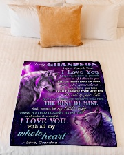 """I BELIEVE IN YOU - FROM GRANDMA TO MY GRANDSON Small Fleece Blanket - 30"""" x 40"""" aos-coral-fleece-blanket-30x40-lifestyle-front-04"""