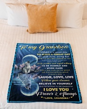 """FOLLOW YOUR DREAMS - GRANDSON GIFT WITH WOLF Small Fleece Blanket - 30"""" x 40"""" aos-coral-fleece-blanket-30x40-lifestyle-front-04"""
