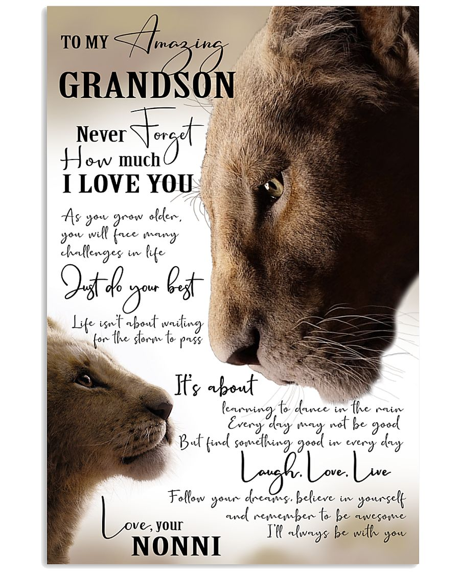 I LOVE YOU - GRANDSON GIFT WITH LION 11x17 Poster