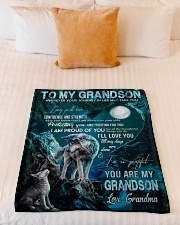 """I AM PROUD OF YOU - GIFT FOR GRANDSON FROM GRANDMA Small Fleece Blanket - 30"""" x 40"""" aos-coral-fleece-blanket-30x40-lifestyle-front-04"""