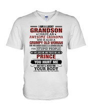 I AM A LUCKY GRANDSON V-Neck T-Shirt tile