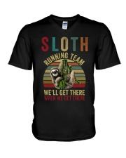 Sloth Running Team V-Neck T-Shirt thumbnail