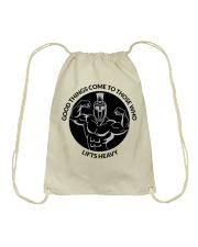 Good Things Come Gym Design Drawstring Bag thumbnail