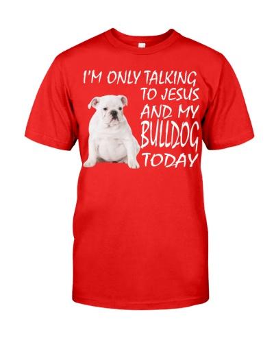 White English Bulldog and Jesus