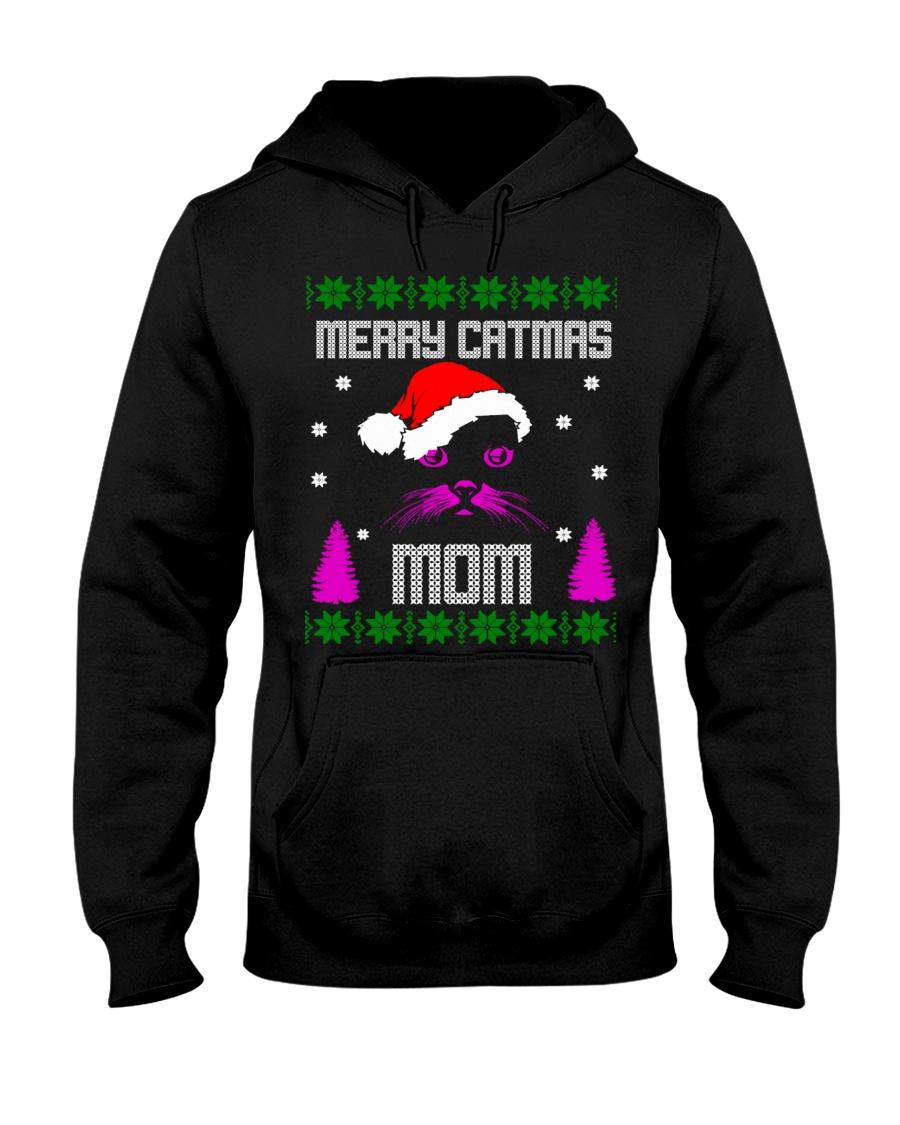 Merry Christmas Kitty Mom Hooded Sweatshirt