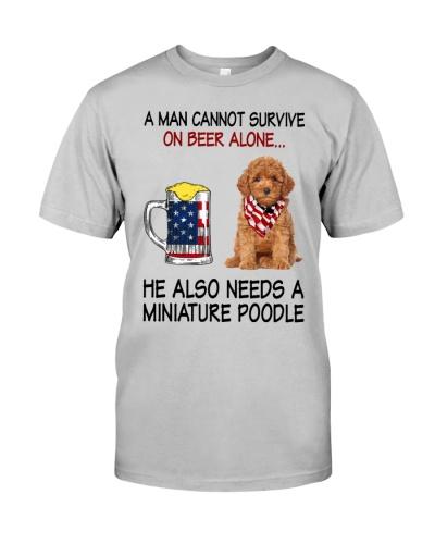 a man cannot survive - Miniature Poodle