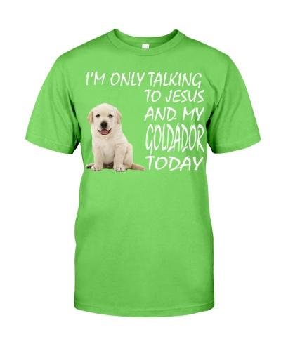 Yellow Goldador Puppy and Jesus