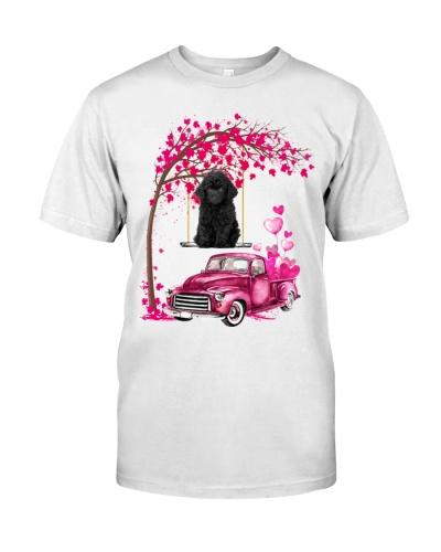 Black Toy Poodle - Tree Love Valentine