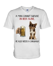 A Man cannot survive without Beer and a Chihuahua V-Neck T-Shirt thumbnail