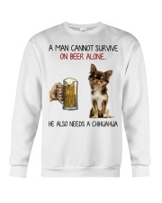 A Man cannot survive without Beer and a Chihuahua Crewneck Sweatshirt thumbnail