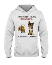 A Man cannot survive without Beer and a Chihuahua Hooded Sweatshirt thumbnail