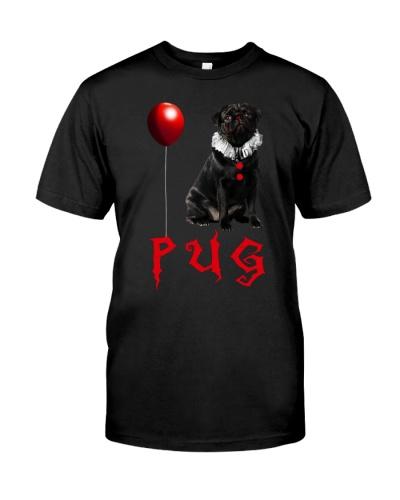 Halloween Black Pug Clown