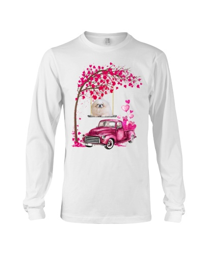 White Pekingese - Tree Love Valentine