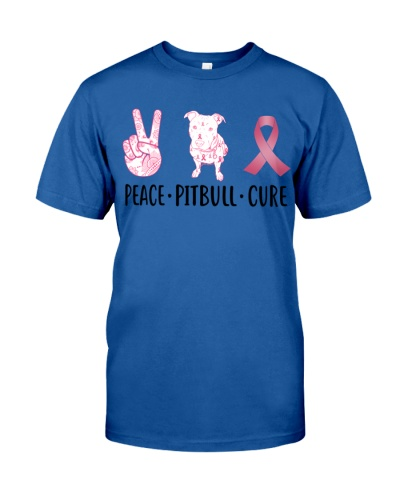 Peace Pitbull Cure Pink Ribbon