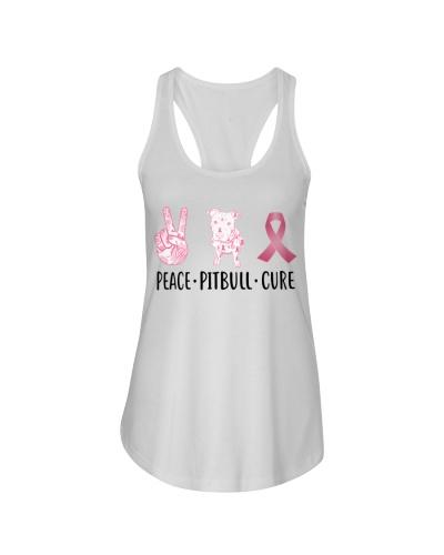 Peace Pitbull Cure Pink Ribbon