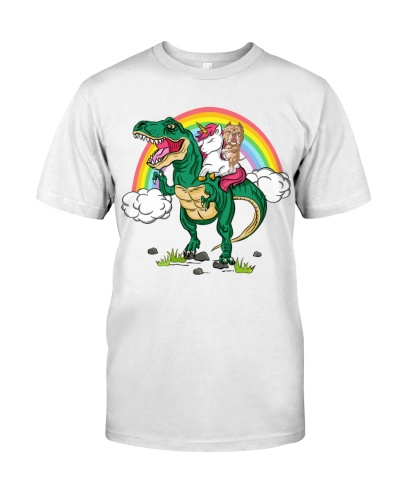 Pitbull riding Unicorn T-rex