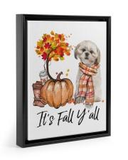 It is Fall - Shih Tzu 3 Flag 11x14 Black Floating Framed Canvas Prints front