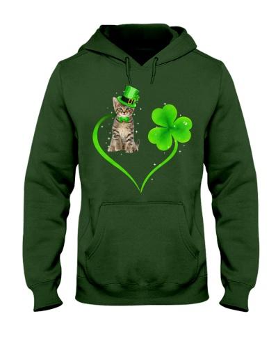 Funny Cat Irish Clover Heart