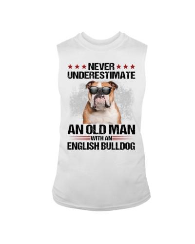 Old Man wiht English Bulldog