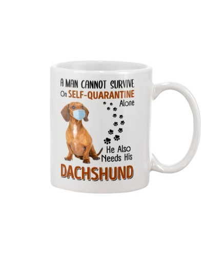 A Man Self-Quarantine With Dachshund1