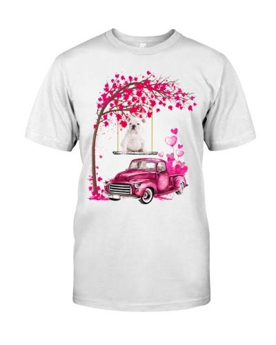White English Bulldog - Tree Love Valentine