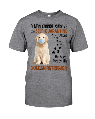 A Man Self-Quarantine with Golden Retriever