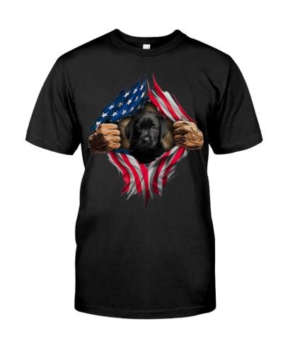 Black Labrador American Flag