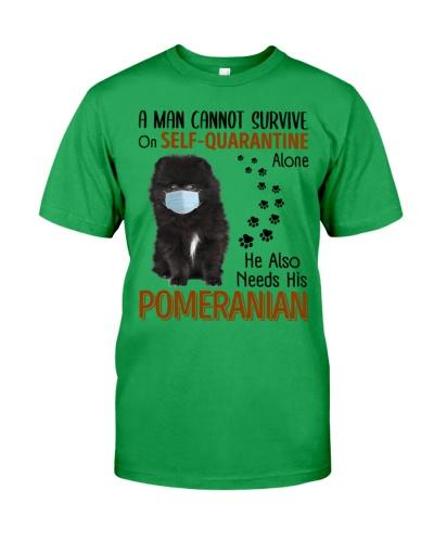 A Man Self-Quarantine With Black Pomeranian