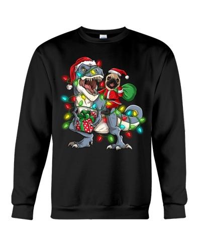 Christmas Santa Pug Riding T-Rex Dinosaur Shirt