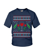 Wine Ugly Christmas Sweater Youth T-Shirt thumbnail