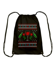 Wine Ugly Christmas Sweater Drawstring Bag thumbnail